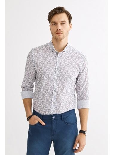 Avva Erkek  Baskılı Düğmeli Yaka Gömlek A01Y2014 Gri